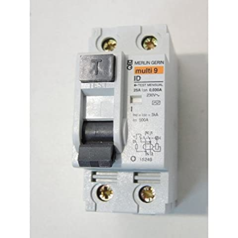 Inter differentiel 25A 2P 30mA type AC ID MULTI9 (remplacé par SCHA9R11225) SCHNEIDER ELECTRIC 15249