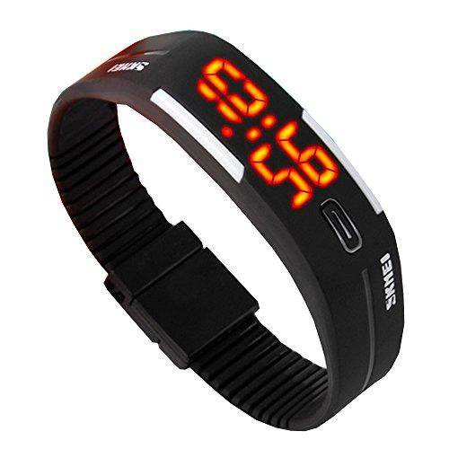 SunJas Damen Sportuhren LED Digital Armbanduhren Wasserdicht, Weiblich, Herren, Jungen, Kinder