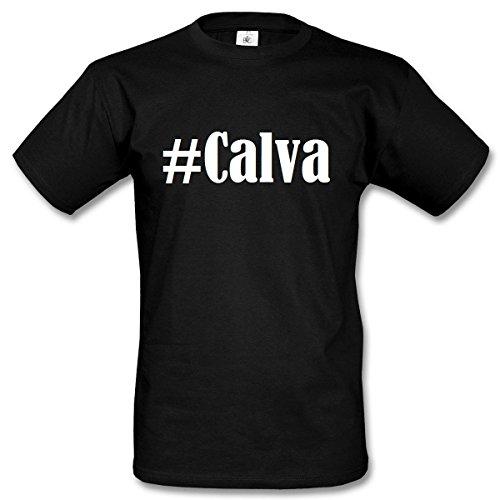 T-Shirt #Calva Hashtag Raute für Damen Herren und Kinder ... in den Farben Schwarz und Weiss Schwarz