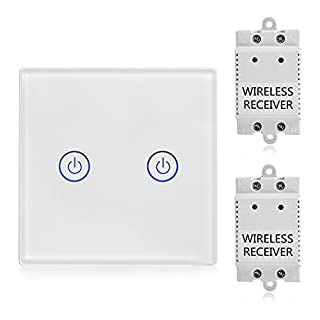 TSSS 2 Way Touch Radio Switch with Receiver Kit - Wireless Light Switch - Remote Control Multi Unit Lamps - Crystal Glass Panel Touch Light Switch - Standard Panel Size 8.6 * 8.6cm