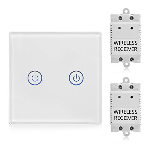 TSSS 2-Wege Touch Funk Schalter mit Empfänger Kit - Wireless Lichtschalter Funkschalter - Fernbedienung Multi-Einheit Lampen - Crystal Glasscheibe Touch Lichtschalter - Standard Panelgröße 8.6*8.6cm (Standard-einheit)