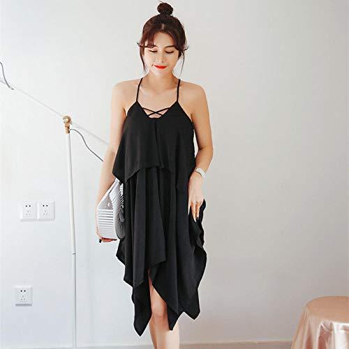 Sommer Sling Nachthemd Frauen Sexy Sling Kleid Micro-transparent Chiffon Living Home Service Komfortable Double Pyjamas Größe: Free Size @ Black_One Größe -