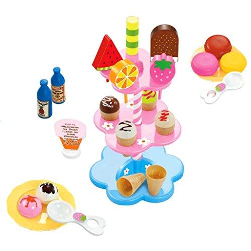 Preisvergleich Produktbild Gazechimp Kinderküche Eiscreme Dessert Lebensmittel Spielset ( Eis, Desserts, Getränke Teller, Löffel, stehen) 22pcs