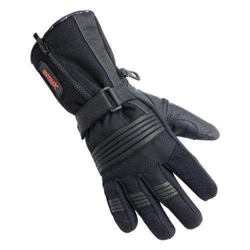 Motorx Motorrad Handschuhe Leder Winter, Schwarz, Größe M
