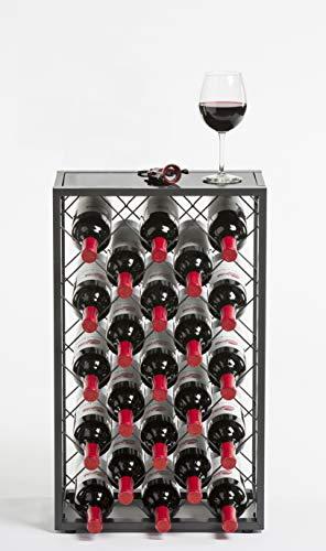 Mango Steam 23 Flaschen Weinregal mit Glasplatte, Zinn / (MEHRWEG)
