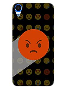 HTC Desire 820 Back Cover - Whatsapp Emoji - Dont Bother Me Angry - Black - Designer Printed Hard Shell Case