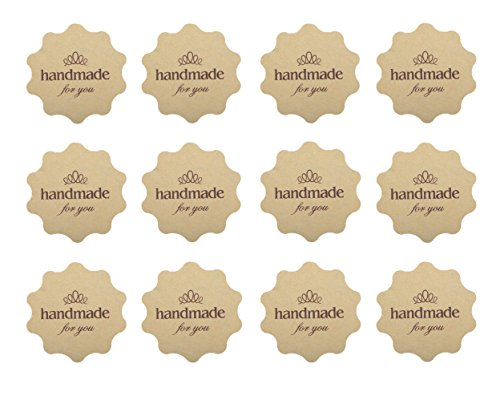 "Funcoo 240 Lovely Cute ""Hand Made"" Envelope Label Seal Decorative Sticker Scrapbooking Craft Sticker for Home, Office, Wedding (Style-5(4x4cm))"