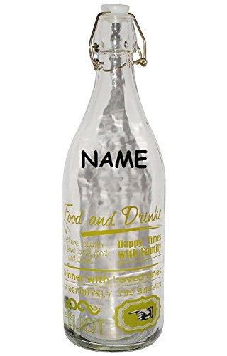 alles-meine.de GmbH Vintage & Retro - Grün  - Große Flasche mit Bügelverschluß - Incl. Name - ..