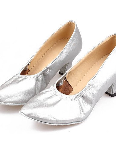ShangYi Non Customizable Women's Dance Shoes Modern Leatherette/Synthetic Cuban Heel Black/Brown/Pink/Red/Silver Nude
