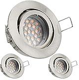 3er LED Einbaustrahler Set mit LED GU10 Markenstrahler von LEDANDO - 5W - schwenkbar - warmweiss - 60° Abstrahlwinkel - A+ - 50W Ersatz - silber - gebürstet