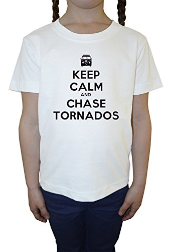 keep-calm-and-chase-the-tornados-weiss-baumwolle-madchen-kinder-t-shirt-rundhals-kurzarm-white-girls