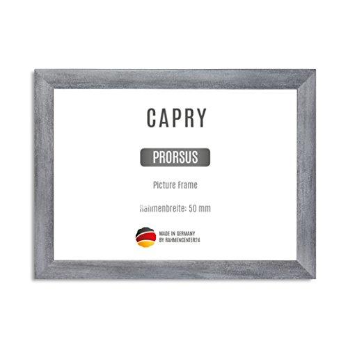 CAPRY PRORSUS 50 mm Bilderrahmen nach Maß für 18 x 13 cm Bilder Farbe Grau gewischt inkl Anti-Reflex Kunstglasscheibe