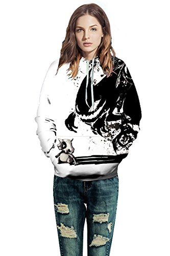 ALICECOCO Kapuzenpulli Herren/Damen 3D Druck Pullover Sweatjacke Cartoon Skull/Wolf Hoodie Weihnachten Langarm Slim Fit Sweatshirt mit Taschen Unisex Geist