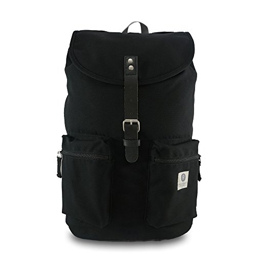 Ridgebake zaino caso KAY BLACK & BLACK LEATHER nero grigio Uomo Donna Bambini Laptop Backpack