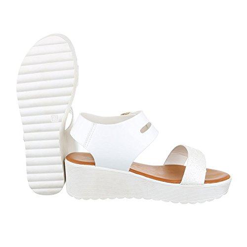 Ital-Design Komfortsandalen Damen Schuhe Römersandalen Keilabsatz/Wedge Keilabsatz Schnalle Sandalen/Sandaletten Weiß