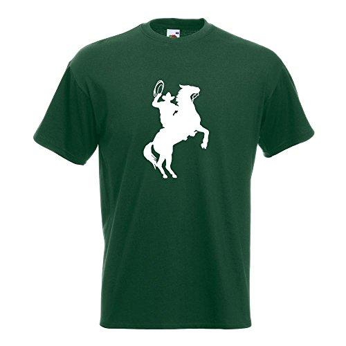 KIWISTAR - Cowboy mit Pferd Lasso T-Shirt in 15 verschiedenen Farben - Herren Funshirt bedruckt Design Sprüche Spruch Motive Oberteil Baumwolle Print Größe S M L XL XXL Flaschengruen