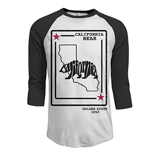 Lustige California Bear Golden State 1850 Männer Raglan-Ärmel Baseball T-Shirts California Bear Tröster Tshirt California Bear Tröster Herrenbekleidung Schwarz M -