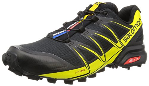 Salomon L38312200, Zapatillas de Trail Running para Hombre, Negro (Black / Black / Corona Yellow), 40 2/3 EU