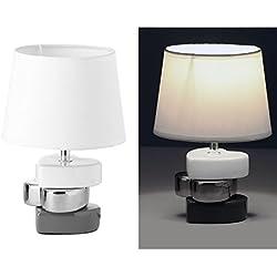dcasa - Lámpara para mesita de noche moderna blanca de cerámica para dormitorio Vitta