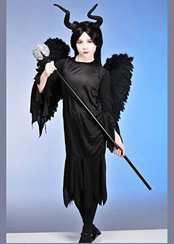 Childrens Maleficent Style Wicked Queen Kostüm mit Flügeln Medium (7-9 years)