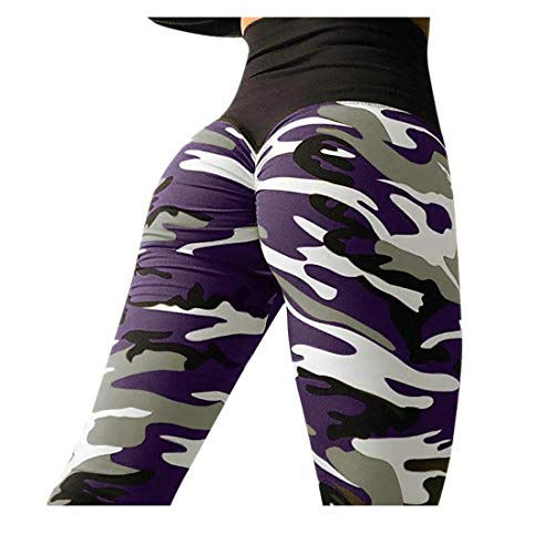 BHYDRY Sport Damen Mode Camouflage Workout Leggings Fitness Sport Turnhalle LäUft Yoga Athletische Hosen Hohe Taille Patchwork(XL,Lila)