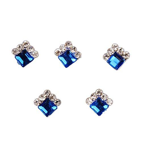 10pcs/set 3D Nagelspitze Dekoration, Nagel Aufkleber, Nagelschmuck, DIY / Nagelstudio Nagelkunst Zubehör - Blau Quadrat