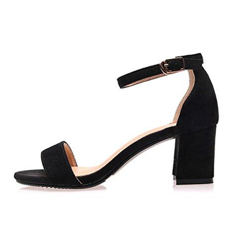 Damen Sandalen Schnalle Nubuklede Knöchelriemchen Blockabsatz Anti-Rutsche Weich Tragen Einfache Sandaletten Schwarz