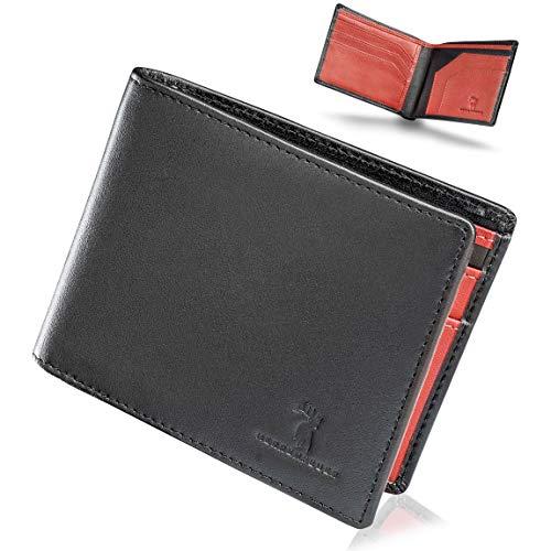 Klassische Herren-geldbörse (HERRENFEUER Portemonnaie für Männer - Klassisches Design trifft auf temperamentvolle Farben - Edle Geldbörse für den Herren - Slim Wallet - Aus Nappa Leder mit RFID Schutz (Schwarz/Rot))