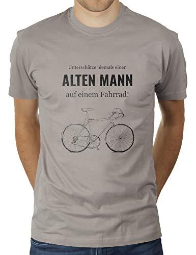 Unterschätze Niemals einen Alten Mann auf Einem Fahrrad - Herren T-Shirt von KaterLikoli, Gr. L, Light Gray