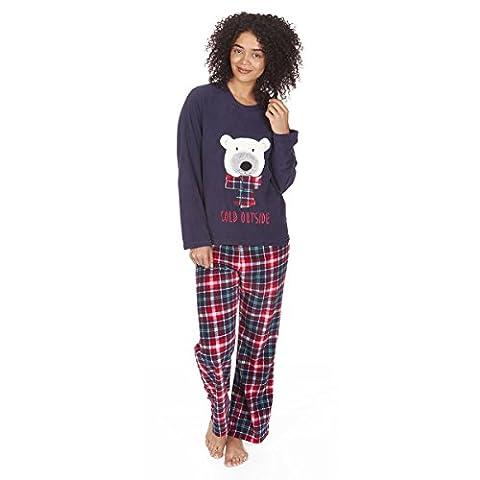 Women's Micro Fleece Novelty Christmas Xmas Pyjama PJ Set Top Bottoms Nightwear
