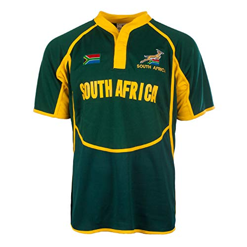 Rugby Nation - Camiseta Deportiva - para Hombre Amarillo South Africa L