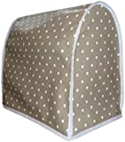 Stone & White Polka Dot PVC Oilcloth Food Mixer Appliance Cover - KitchenAid Kmix Kenwood Patissier
