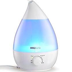 InnoBeta® 2,4 Liter Ultraschall-Luftbefeuchter Cool Mist mit Filter für babys, kinder - Die ganze Nacht hindurch, Leise, Automatische Ausschaltung,langlebig, 7-farbige LED-Lichter (bis 35m²)