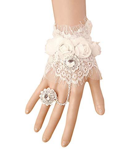 Tsinggs Braut Weiße Blume Gotische Viktorianische Spitze Frauenhand Gemachte Braut Armband-Ring-Set