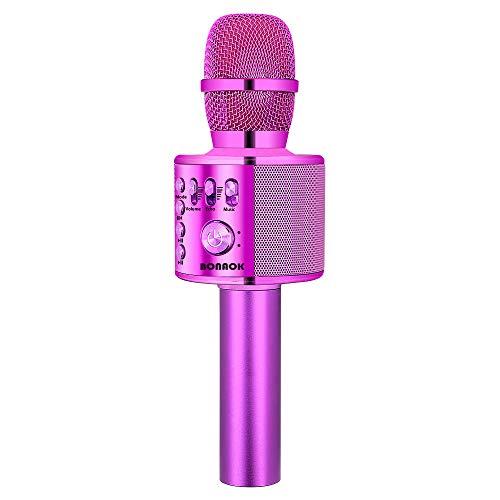 uetooth-Karaoke-Mikrofon, tragbares 3-in-1-Karaoke-Handmikrofon Geburtstagsgeschenk Home-Party-Lautsprecher für iPhone/Android/iPad/Sony, PC-Smartphone (Lila) ()
