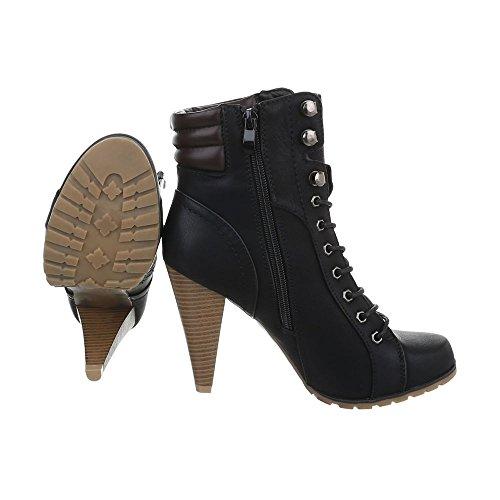 High Heel Stiefeletten Damenschuhe Schlupfstiefel Pfennig-/Stilettoabsatz High Heels Reißverschluss Ital-Design Stiefeletten Schwarz