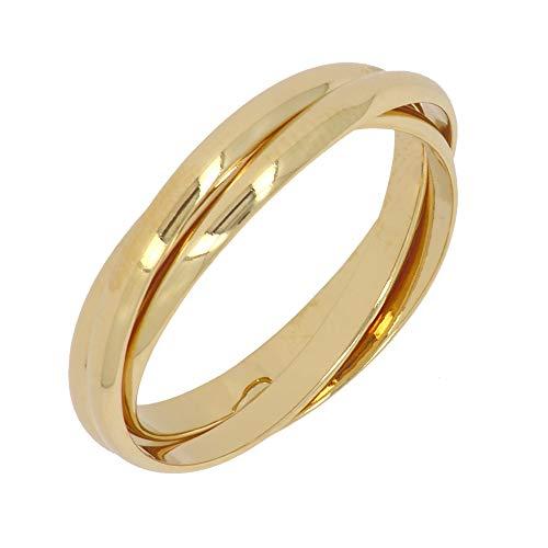 ISADY - Frida Gold - Damen Ring - 18 Karat (750) Gelbgold - Dreiband - Dreierring Vorsteckring