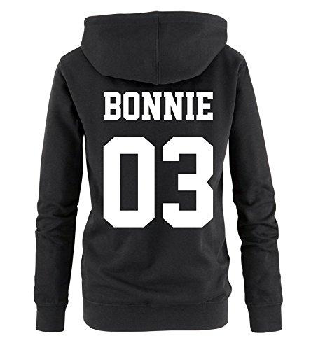 *Comedy Shirts – BONNIE 03 – Damen Hoodie – Schwarz / Weiss Gr. S*