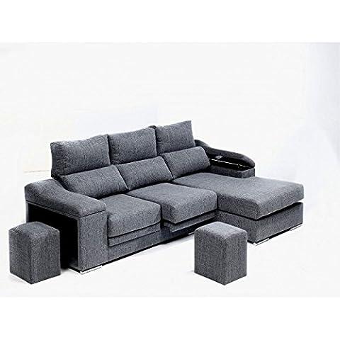 Sofá chaise longue derecha en tela con dos puff. Varios tapizados.