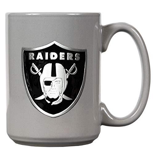 Oakland Raiders Offizielle NFL Tasse, Becher mit Metall-Logo 400 ml