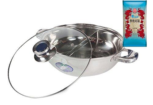 yoaxia ® - [ Ø 32cm ] HOT POT Topf mit 2 Kammern/Feuertopf/Fondue/Shabu Shabu + 1x [ 100g ] DIAMOND BRAND Longkou Vermicelli/Glasnudeln