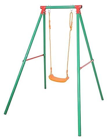 SportPlus Kinder Einzelschaukelgerüst mit einer Brettschaukel, Sicherheitstest nach EN 71, Modell 2017, (Smoby Kletterturm)