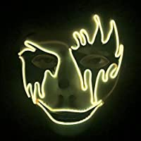 Yukun Máscara Máscara de pánico de Halloween Atmósfera de Noche Decoración Máscara Fantasma Hombres y Mujeres Llevan máscara Luminosa Led. Amarillo