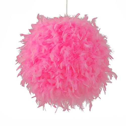 LEDMOMO Rosa Feder Decke Pendelleuchte Schatten, Feder Ball Lampenschirm Stehleuchte Dekorative Droplight Schatten für Wohnzimmer, Esszimmer und Schlafzimmer