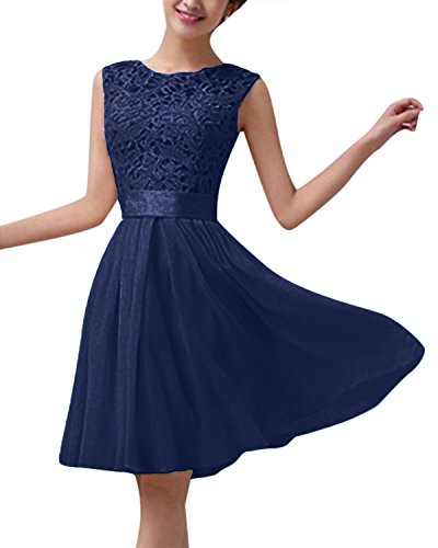 ZANZEA Damen Spitze Ärmellos Party Club Kurz Slim Abend Brautkleid Cocktail Ballkleid Marine EU 42/US 10