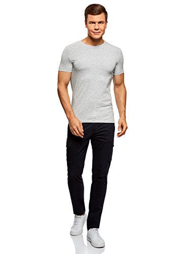 oodji Ultra Herren Tagless T-Shirt Basic (5er-Pack) Grau (2300M)