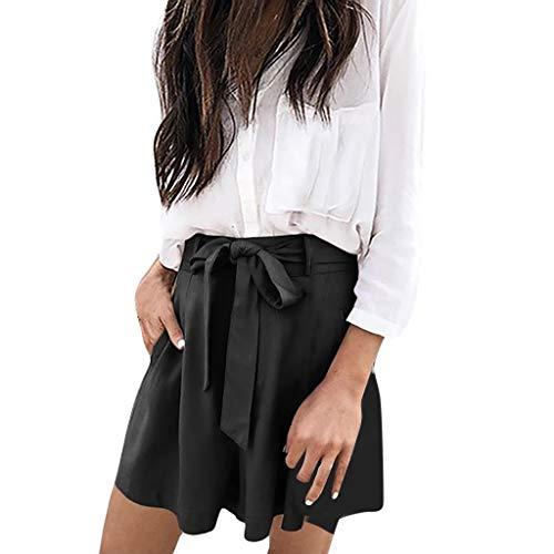 DEELIN Bekleidung Damen Sommer Strand Shorts Hosen Frauen Hotpants elastische Taille Bowknot Loose Shorts Kurze Hosen Damenhosen Shorts für Frauen Mädchen -