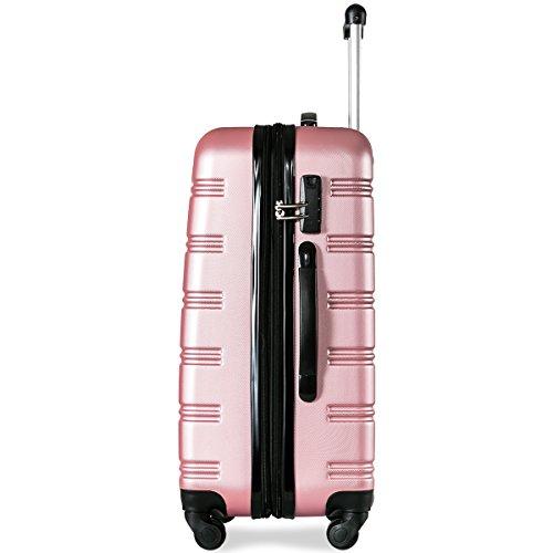 Flieks Hartschalen Handgepäck Reisekoffer Trolley Koffer mit 4 Rollen und Zahlenschloss, XL-L-M(L, Pink) - 5