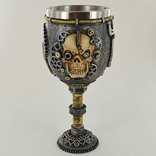 Prezentscom bionischer Totenkopf Kelch unglaublich detailliert Trinkbecher oder Altar Ornament für Fantasy & Magic Fans