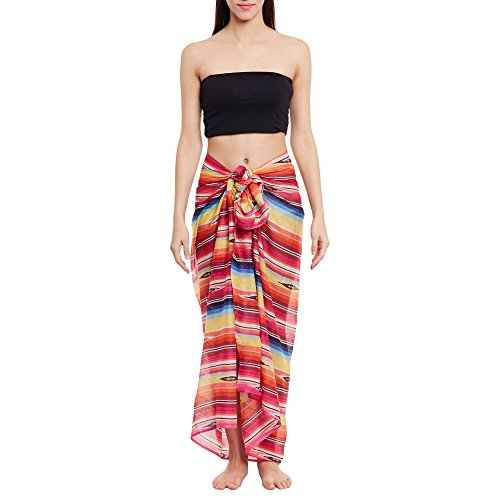 Womens Cotton Printed Voile Sarong Wrap Swimsuit Cover Up, Swimwear Cover Ups for Women, Designer Quality Swimsuit Coverups,66X42 Inch,W-VSN-2616